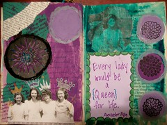 Queen For Life (artsychicksw) Tags: art ink altered mixed media quote journal stamping journaling