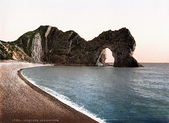 Durdle Door (sjrankin) Tags: ocean england beach unitedkingdom edited shoreline shore libraryofcongress atlanticocean tinted lulworth durdledoor c1905 25may2013