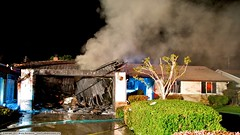 House fire presents challenges for County Fire (YFD) Tags: california usa canon fire action saratoga 911 firetruck emergency ems firedepartment santaclaracounty eos7d sccfd