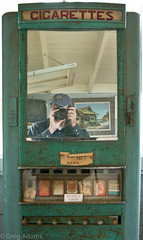 """""""Does Not Work!"""" (Greg Adams Photography) Tags: california park county camera old portrait selfportrait beach me northerncalifornia self mirror antique decay marin rusty historic faded cigarettes smokes sanrafael chinacamp cigarettemachine 2011 hhsc2000"""