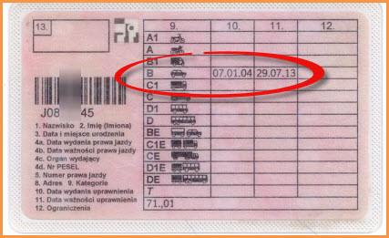 Prawo jazdy terminowe z kodem 01