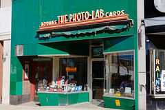 Photo Lab Memories (fotofish64) Tags: camera urban newyork green 20d sign retail facade photography downtown statestreet oldfashioned schenectady camerastore thephotolab