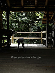 Shade on the Porch (Photographybyjw) Tags: wood old trees sun rural fence bench fun found this log cabin shadows side country rustic north foliage shade porch carolina weathered photographybyjw