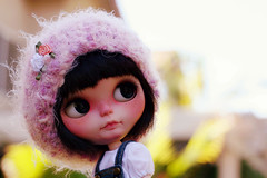 Pink fluffy Pink/Lavender mixed slouchy Beret.