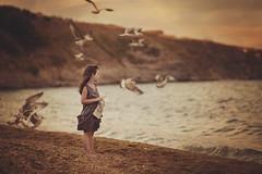 Summer Moved On (Stanimira Roydeva /Stone River/) Tags: sunset sea summer beach girl birds nikon