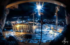 Crane With a View (SkipperPhoto) Tags: friends night danger dark denmark construction cityscape crane outdoor creative band dramatic surreal fromabove fisheye urbanexploration conceptual hdr aarhus 2012 urbex metrophotochallenge centraldenmarkregion skipperphotography xcontract