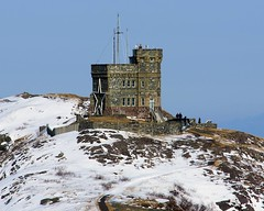cabot tower (wespfoto) Tags: winter sky people cliff snow newfoundland walking hill stjohns hikers signalhill cabottower