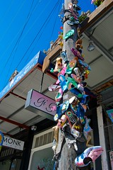 Exercising the right to peaceful protest via the medium of shoes (nailed, not thrown) (daniel_james) Tags: shoes protest australia thongs nsw newtown kingstreet innerwest canon1022mm 2013 vision:mounta