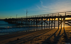 Pier and shadows (Photosuze) Tags: ocean california sunset sun water clouds landscape sand surf skies shadows piers pacificocean beaches lateafternoon goleta santabarbaracounty goletapier