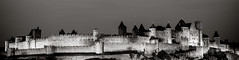 Fortified City of  Carcassonne by Night ( I'm Nt i ) Tags: city blackandwhite bw france castle sepia canon noiretblanc south 85mm panoramic medieval unescoworldheritagesite southern aude f8 carcassonne select lightroom f12l ef85mmf12liiusm eos5dmarkiii