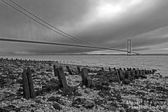 Humber Bridge (rockindave1) Tags: wood bridge sea sky water rocks hull toned humberbridge hessle canoneos5dmark2 adobecs5