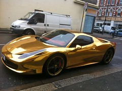 "Gold Ferrari and White Van • <a style=""font-size:0.8em;"" href=""http://www.flickr.com/photos/89972965@N03/13696042485/"" target=""_blank"">View on Flickr</a>"