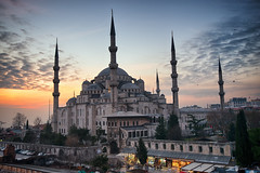 Sultan Ahmed Mosque (Blue Mosque), Istanbul, Turkey (CamelKW) Tags: sunset turkey islam istanbul mosque bluemosque placeofworship sultanahmedmosque istanbul20132014