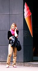 Woman and Ice Cream Shop Sign (Kojotisko) Tags: street city people streets person czech streetphotography brno cc creativecommons czechrepublic streetphoto persons praktica fujifilmfinepix fujifilmfinepixsl1000 fujifilmfinepixsl1000kojotisko