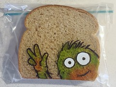 Hey there! (D Laferriere) Tags: green art monster bag dad sandwich sharpie creature attleboro laferriere kritzels
