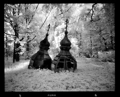 Dominion of Time (tsiklonaut) Tags: life old white black tower abandoned 120 film blanco church analog forest ir religious glow cross y time pentax ultimate drum scanner top pair faith religion jesus ngc negro theend over surreal philosophy scan christian dreaming beginning together age destiny era infrared roll torn glowing medium format dreamy lonely analogue 6x7 unreal orthodox infra usk aura 67 isolated merge analogica kirik nationalgeographic mustvalge kuppel efke drumscan analoog pmt infrapuna ir820 photomultipliertube õigeusu hüljatud õigeusk