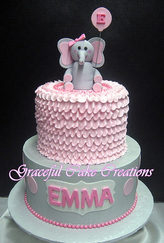 Pink And Grey Baby Shower Cake With Ruffles Polka Dots And An