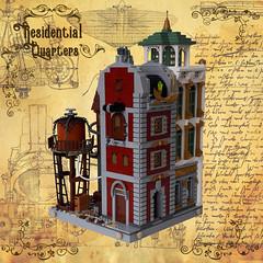 Residential Quarters - Corner 4 (Zilmrud) Tags: moc lego modular building steam punk steampunk ruins san victoria swebrick house