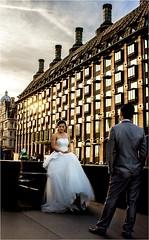 Marry me.. (michael.inman.t21@btinternet.com) Tags: weddings streetphotography weddingdress proposal london light dusk town traffic