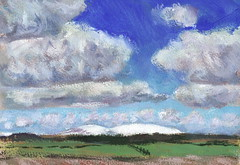 Cheviot and Hedgehope from Craster (James Holland) Tags: winter snow clouds painting landscape air northumberland gouache plein pleinair cheviot pochade hegehope