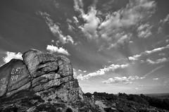 Ashover Rock complete with LFC Graffiti (KRLandscapes) Tags: blue sky cliff rock clouds landscape countryside nikon district derbyshire sigma peak 1020 hdr dales ashover d5100
