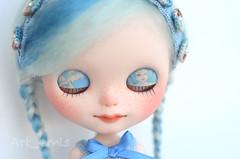 Alkira (Art_emis) Tags: new blue light white art girl make up work doll hand handmade drawing ooak painted angels mohair blythe mold custom takara eyelids fbl weft reshaped
