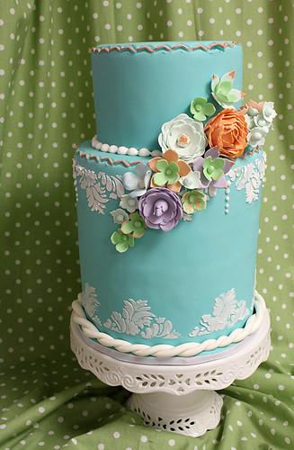 Teal Damask and Delicate Sugar Flower cascade wedding cake