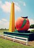 Giant Peach (SOMETHiNG MONUMENTAL) Tags: fruit canon giant farm indiana roadtrip odd roadsideattraction roadsideamerica g12 2013 somethingmonumental mandycrandell