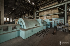 Meet The Generators (billmclaugh) Tags: plant industry photoshop canon dark bench midwest industrial shadows pipes tools urbanexploration benches hdr highdynamicrange ue lightroom urbex manufacturing boilers 14mm photomatix rokinon viveza condensors 5dmiii