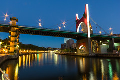 Bilbao - Puente de la Salve (Luca Quadrio) Tags: city bridge light red summer green water architecture night river twilight spain europe cityscape landmark bilbao clear guggenheim vizcaya basquecountry spagna salve paesibaschi