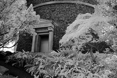 Entrance to Water Tower (zenseas : )) Tags: seattle park summer blackandwhite bw sun tower ir washington watertower entrance sunny entryway infrared volunteerpark capitolhill olmsted digitalinfrared aquapura olmstedexhibit infraredconversions