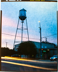 (Shutter_Inc.) Tags: longexposure sunset color film analog outside outdoors long exposure kodak g watertower large slide e 4x5 format 100 ektachrome largeformat calumet colorslide kodakektachrome cambo kodake100g calumetcambo