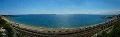 Tarragona Panoramic (ORIONSM) Tags: sea beach port spain panoramic tarragona panasonictz25