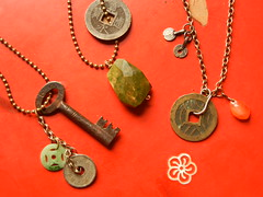 Little Green Pagoda necklaces 2013, old chinese charms and coins