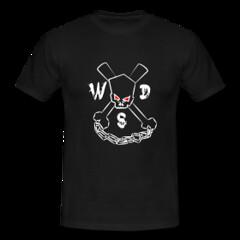 Men's Black Skull and Cross Chux Tee (Who Dares Spinz) Tags: motion logo flow fire skull star chains fight graphics freestyle pattern ninja spin arts womens staff yang spinning poi mens spreadshirt tshirts yin brand vector yinandyang hoodies wds sweatshirts nunchucks nunchaku longsleeves whodaresspinz freechaku spinstorm ssfna freestyleforum