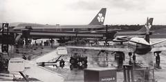 1970's Dublin airport. (Longreach - Jonathan McDonnell) Tags: ireland dublin blackwhite boeing 1970s 1977 ilford boeing747 aerlingus twa bma dublinairport boeing707 ilfordfp4 viscount boeing737 eidw