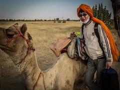 John with Camel (Synghan) Tags: india indians indian fort jaisalmer korean john camel camels safari trip tour tourism sightseeing travel travels gate gadi sagar lake manju canon powershot a630 turban