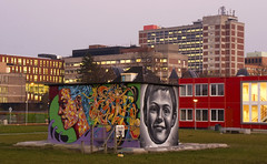 Faces (Arend Jan Wonink) Tags: longexposure netherlands graffiti raw nederland le bluehour groningen niederlande umcg ebbingekwartier ciboga cibogaterrein