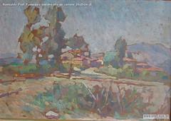 Romualdo Prati Paesaggio toscano,olio su cartone 24x35cm di