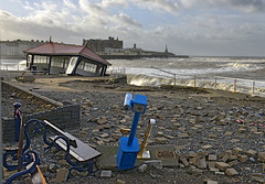 The telescope (Geoff Griffiths Doncaster) Tags: storm victorian aberystwyth promenade damage shelter
