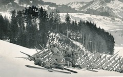 Ski-troop ensconed behind an avalanche breaker in the mountains in Allgu (Paranoid_Womb) Tags: soldier army war postcard wwi german empire imperial 1914 1915 greatwar worldwar 1917 1918 1916 wolrdwarone
