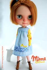Kindergarten outfit for the girls (Miema) Tags: blue red hair carved doll dress handmade lips clothes blythe freckles kindergarten custom takara puppe miema miemashop miemadollhouse