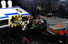 Encounter in space (N-11 Ordo) Tags: black station fight gun ship lego space pirates attack battle astronaut scene best nasa weapon figure challenge ordo n11 brickarms frighter brickr