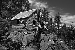Pyramid Peak cabin...... (McCoy352) Tags: lakecrescent blackandwhite washington cabin olympicpeninsula hike bugs pacificnorthwest olympics pyramidpeaktrail