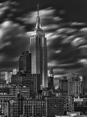 Shadow over the Empire State (Daniel Schwabe) Tags: newyorkcity shadow bw usa ny architecture clouds skyscraper empirestatebuilding
