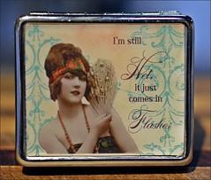 ODC-I'm Still Hot!!! (Jo Z-FLOWER BUDS EMERGING..SPRING SOON!) Tags: hot metal lady fan pretty flapper cursive whimsical pillbox odc flashes