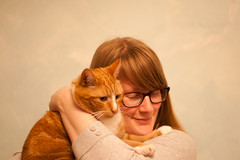 Day 84, Year 7. (evilibby) Tags: cat glasses hug cuddle libby 365 1910 gingercat 84 365days 3657 barnabee 365days7
