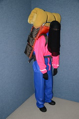 Slave with backpack (Buses,Trains and Fetish) Tags: girl hijab backpack niqab rainwear anorak slave burka chador