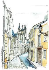 Poitiers, rue de la Cathédrale (Croctoo) Tags: croctoo croctoofr croquis aquarelle watercolor poitou poitiers poitoucharentes ville cathédrale