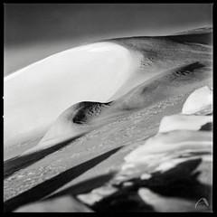 Winter light show (ShimmeringGrains) Tags: ilfordpanfplus50 square lines winter landscape curves mediumformat 6x6 snowshapes shimmeringgrains impressionistic ©marieahlén snowscapes film snow snö scanned sonnar1504 120film mellanformat scannad hasselblad500cm hasselblad vinter kvadrat atmosphere ilfotecddx analog ddx14